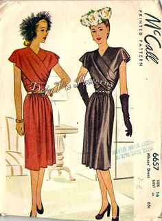McCall 6657  Vintage 1940s Evening Dress with Cross Over Draped Front Bodice Sewing Pattern Sz 16 on Etsy, $84.99