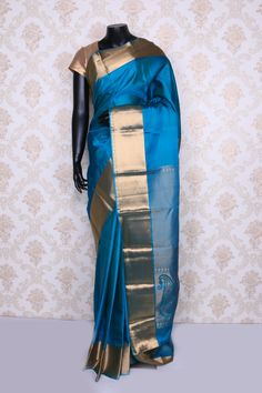 Metallic #blue pure silk weaved ethereal #saree with dull #gold border -SR12431
