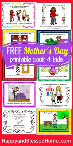 Adorable FREE Printable Mother's Day Book - 18 pages of warm and friendly graphics and fun-loving rhymes from HappyandBlessedHome #FREEMothersDay #FREEBook #MothersDayGift