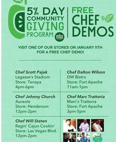 Please visit #Wholefoods on Jan 11th for a FREE Chef Demo at 4 different locations in Las Vegas.  5 % of the total sales will be donated to Create a Change Now, to fight child obesity & teaching them healthier choices. 🌱🥦🥕🍋🍊 #BetterLifeRealty #LasVegasHomes #RealtorLife #Charity #Fundraiser #realtorlife #RealEstateandLifestyle #lifestyle #realestate #lasvegas #henderson #summerlin #Sellinglasvegas #localrealtors - posted by Diana RE&L, Better Life Realty…