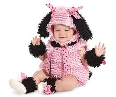 She'll beg to wear this Pink Poodle Infant/Toddler Costume. Costume includes a pink plush body, a character hood, armbands, and anklets. Tights are NOT included. Available in Sizes 6-12months, 12-18mo