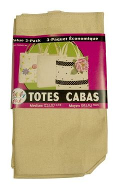 Loew Cornell TBN3-3636 Totally You, Tote Bags Value Pack, Natural
