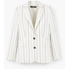 MANGO Pinstripe Suit Blazer (1.592.865 IDR) ❤ liked on Polyvore featuring outerwear, jackets, blazers, long sleeve blazer, pinstripe jacket, pinstripe blazer, blazer jacket and lined jacket
