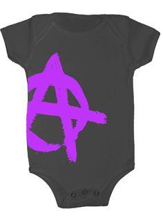 """""""Lil Anarchist"""" Onesie by Lil Poopie Nation (Grey/Purple) #InkedShop #anarchist #onesie #infant #toddler"""