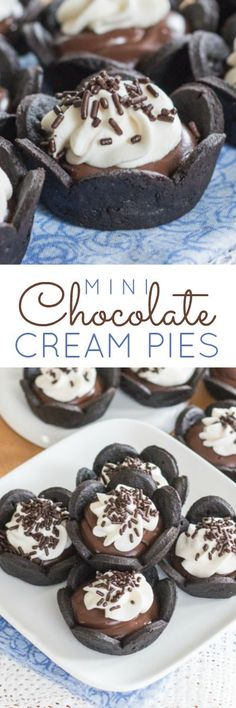 Small and adorable, these Mini Chocolate Cream Pies feature creamy chocolate pudding layered over a crisp hint-of-cinnamon chocolate crust topped with lightly sweetened whipped cream. A perfect recipe for parties.