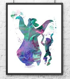 The Jungle Book Watercolor, Mowgli and Baloo Dancing, Watercolor Painting, Kids Room Decor, Nurcery Decor, Wall Art, Home Decor - 182(Etsy のgingerkidsartより) https://www.etsy.com/jp/listing/239259404/the-jungle-book-watercolor-mowgli-and