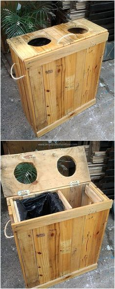 wood pallet dust bin  #pallets #woodpallet #palletfurniture #palletproject #palletideas #recycle #recycledpallet #reclaimed #repurposed #reused #restore #upcycle #diy #palletart #pallet #recycling #upcycling #refurnish #recycled #woodwork #woodworking