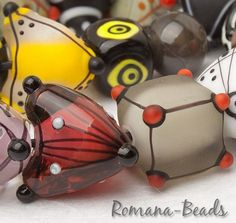 "Artisan Lampwork Beads by Romana - ""Geo-Mix I."" #ArtisanLampworkBeads"