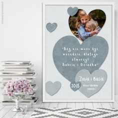 Serce szare + zdjęcie - Plakat dla babci i dziadka    #dzieńbabci #dzieńdziadka #dzienbabci #dziendziadka #dziadkowie #babcia #dziadek #prezent #święto #plakat #poster #nasciane #grandpa #grandma