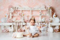 White Swan Feathers & Glam Sparkle Romper made by Belle Threads 1st Birthday Photoshoot, First Birthday Outfits, Girl First Birthday, First Birthday Parties, First Birthdays, Birthday Ideas, Ballerina Birthday, Pink Christmas Decorations, Girls White Dress