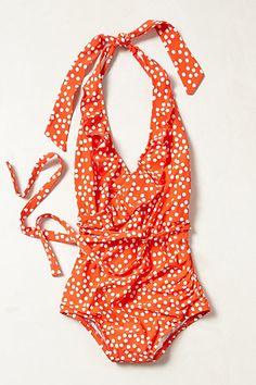 adorable polka dot ruffled halter swimsuit http://rstyle.me/~1Ok2f