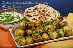 Koskacukor: Tandoori csirkecombok,Naan kenyérrel és Raitaval