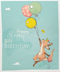 Cute Kangaroos. Clipart digital collection cute animals   Etsy Kangaroo Illustration, Balloon Illustration, Cute Animal Illustration, Kangaroo Drawing, Happy Birthday Greetings, Animal Birthday, Animal Logo, Nursery Art, Planner Stickers