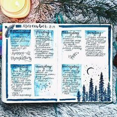My spread from my last week of November. Totally forgot to post this picture earlier!  Used indigo watercolor for the boxes and my Payne's grey @winsorandnewton Brush pen to do the trees. . By the way tomorrow I will have a new watercolor with me video up on YouTube so look out for that! It is winter themed!  Going to start posting more frequently again on Instagram and also YouTube. This month has just been a little cray cray but I want to get back on track! . . . #watercolor #winsoran...