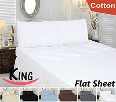 Cotton King Flat-Sheet White - Premium Quality Combed Cotton Long Staple Fiber - Breathable, Cozy, Comfortable