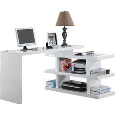 Writing Desk with Shelves Reviews ❤ liked on Polyvore featuring home, furniture, desks, shelving furniture, shelf furniture, modern shelf, modern home office desk and shelf desk