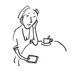 Illustratie met pen - illustration with pen - woman - vrouw - koffie - coffee - smartphone - mobiel