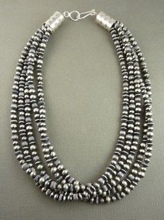 Antiqued Five Strand Sterling Silver Bead Necklace for $789.00 | Sterling Silver Jewelry | Native American Jewelry http://www.southwestsilvergallery.com/AWSCategories/p/76/Silver-Bead-Necklaces