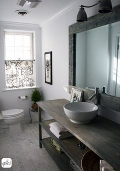 Rustic Bathroom - mirror and lighting
