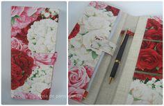 Porta talão de cheques floral rosas