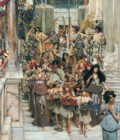 """Lawrence Alma Tadema: """"Spring"""" This hangs in our stairwell. I fell in love with it at the Getty Museum in Los Angeles in the late We immediately bought the print. The painting is actually about 3 times longer than this section shown here. Lawrence Alma Tadema, John William Godward, Charles Edward, Art Ancien, Getty Museum, Dutch Painters, Pre Raphaelite, Classical Art, Beautiful Paintings"""