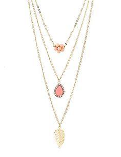 Layered Flower & Leaf Charm Necklace  #charlotterusse #charlottelook