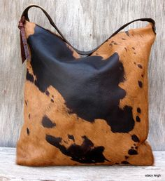 Tobacco and Dark Brown Hair On Acid Washed Cowhide by stacyleigh