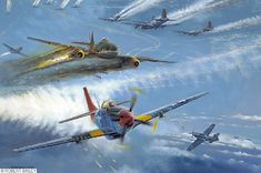 March 24, 1945. 1st Lt. Earl R. Lane of the 100th Figher Group destroys a messerschmitt-262 jet high over Germany. Also shown: the Luftwaffe were using a captured P-51 (all black) Mustang during this action.