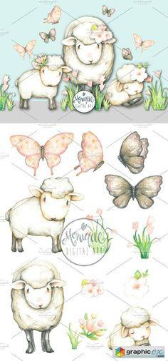 Sheep Lamb Clipart Watercolor  stock images