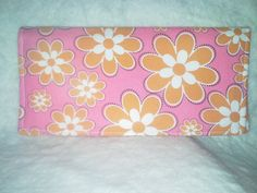 Orange Flower Checkbook Cover by amazingstacy on Etsy, $7.50