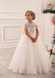 Elfenbein Spitze Blumenmädchen Kleid - Brautjungfern Hochzeitsfest Ferien Geburtstag Tüll Elfenbein blumenmädchen Kleid