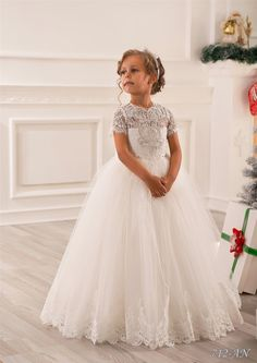 sparkling crystals flower girl dress ivory short sleeves