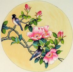 A traditional Chinese painting of Birds and Flowers for sell from China. Chinese Painting Flowers, Chinese Flowers, China Painting, Fabric Painting, Watercolor Flowers, Watercolor Art, Decoupage, Art Asiatique, Fruit Art