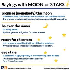 Sayings with MOON & STARS #learnenglish