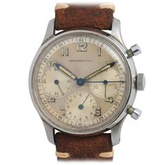 Abercrombie & Fitch Stainless Steel Chronograph Wristwatch circa 1950s | 1stdibs.com