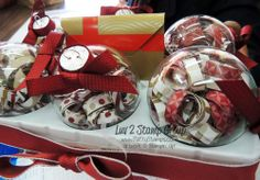 """www.PattyStamps.com - the SECRET to these adorable curly paper Christmas ornaments is the size of the paper strip... 1""""x3"""", curled and put into clear ornaments!  beautiful holiday home decor by Lisa"""