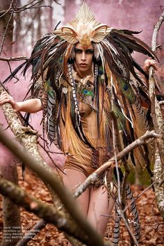 MADE TO ORDER Fantasy Woodland fairy nymph goddess headdress headpiece gaga steampunk burlesque costume. $699.00, via Etsy.