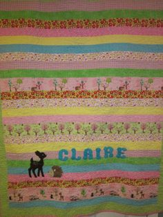 I love adding an applique on top of a pieced quilt