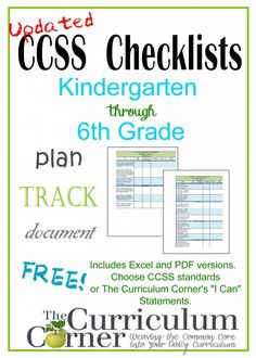 "Updated CCSS Checklists and ""I Can"" Statement Checklists from The Curriculum Corner for kindergarten, 1st grade, 2nd grade, 3rd grade, 4th grade, 5th grade & 6th grade!"