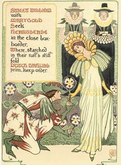 Walter Crane free e-books at Project Gutenberg - Illustration from 'A Floral Fantasy in an Old English Garden' (1899). http://www.gutenberg.org/files/24485/24485-h/24485-h.htm