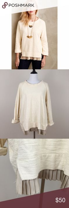 Anthropologie Pleated Hem Pullover Sweater Undiscovered eye | Condition: pre-owned. Wear from washing. | NO TRADES Anthropologie Sweaters