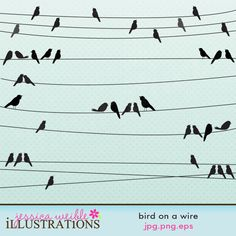 Bird on a Wire clipart set comes with 5 different strands of wire groups with birds in various formation.