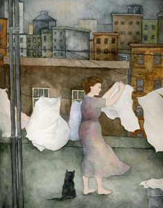 """Hanging the Wash"" - Watercolor by Miriam Nerlove (American, b. 1982)"