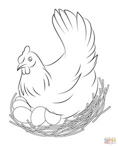 Free Printable Coloring Page Featuring A Chicken Hen