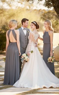 A-line wedding dress with organza skirt by Essense of Australia D2145 2 / http://www.deerpearlflowers.com/sorella-vita-bridesmaid-dresses/3/