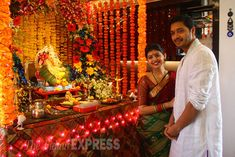 Actor Shreyas Talpade and his wife posed with the Ganpati idol at their home. (Source: Express photo by Amit Chakravarty)