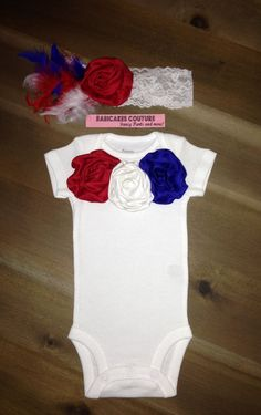 Little Miss Patriot!  Red White and Blue Newborn Take Home Outfit by BabicakesCouture on Etsy
