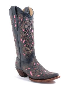 Corral Women's Distressed Black/Brown Floral Pink Inlay Boots - A1953