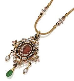 Renaissance Revival Necklace Of Gold, Diamond And Enamel With Carnelian Intaglio Of A Roman Emperor Laureate, Signed Wiese, Paris   c.1850
