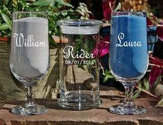 Unity Sand Set / Personalized Wedding Sand Ceremony / Includes Custom Engraved Glasses / 48 Font Designs